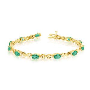 10K-Yellow-Gold-Oval-Emerald-and-Diamond-Bracelet