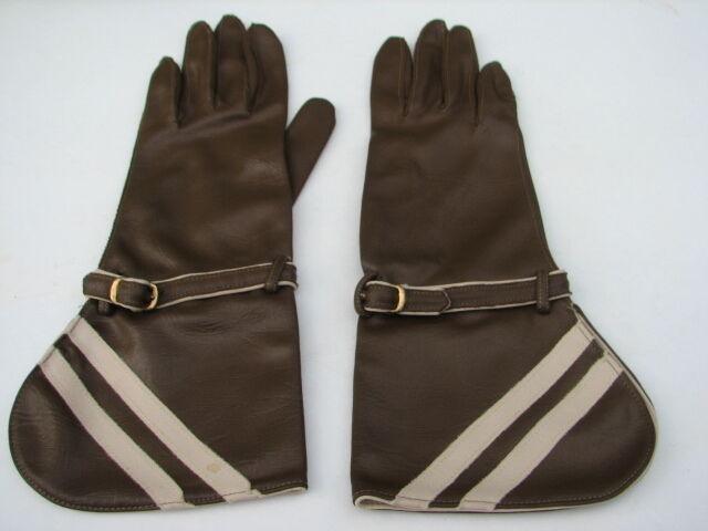 **van Raalte Vintage Brown W/ Beige Trim Ladies Nylon Gloves Sze 6 Made In Usa 2019 Official