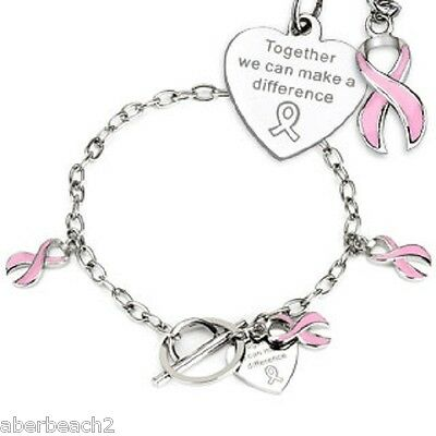 Together we can make a difference Breast Cancer Awareness Charms -Chain Bracelet