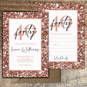 BIRTHDAY-INVITATIONS-40th-Rose-Gold-Glitter-Effect-Personalised-Blank-PK-10