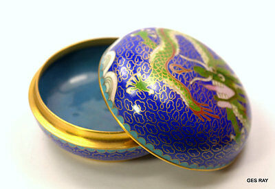 Vintage Chinese Cloisonné Dragon Small Round Box