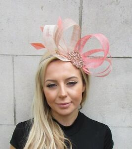 Nude Coral Rose Gold Pink Silver Sinamay Feather Hair Fascinator ... efcfcf219e0