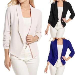 Women-3-4-Sleeve-Blazer-Open-Front-Short-Cardigan-Suit-Jacket-Work-Office-Coat