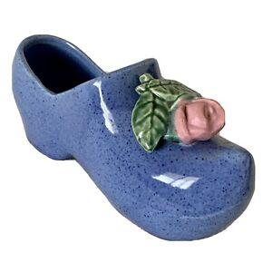Vintage Mccoy Pottery Clog Planter Blue Shoe Rose Marked