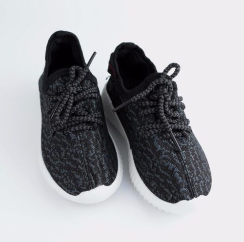 t-2 Kids Girls Boys Black Sneakers Running Sports Comfort Casual Shoes