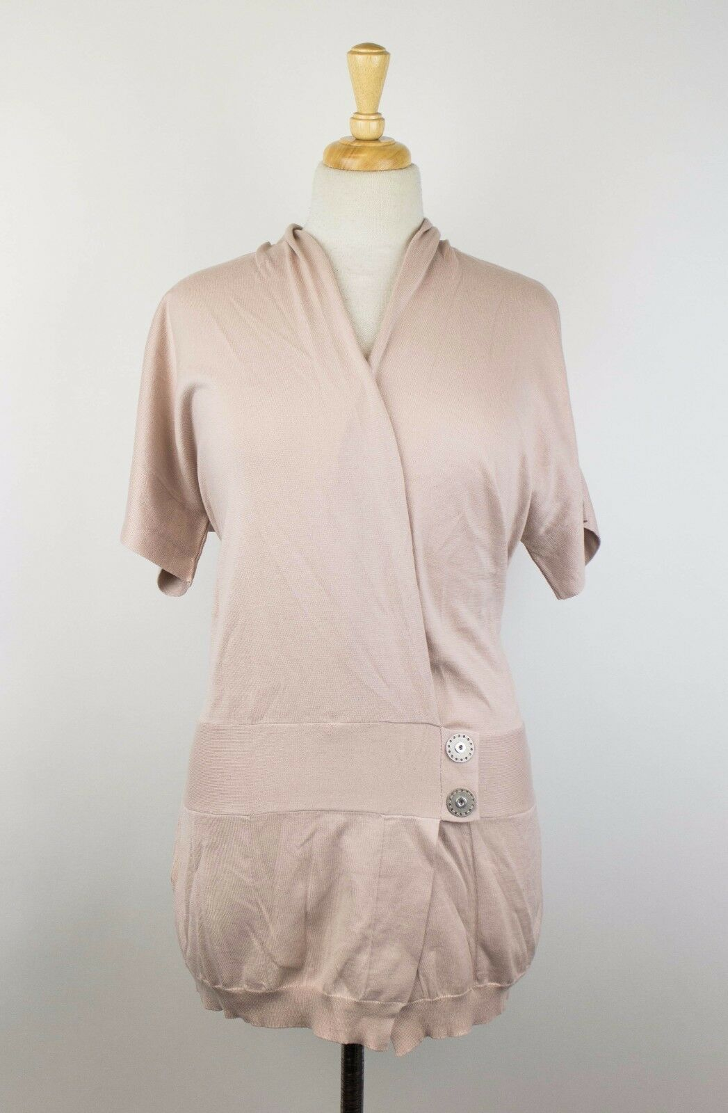 NWT BRUNELLO CUCINELLI Pink Cotton Short Sleeve Cardigan Sweater Size L