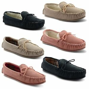 New-Ladies-LodgeMok-Real-Leather-Soft-Suede-Moccasin-Winter-Slippers-Size-UK-3-8