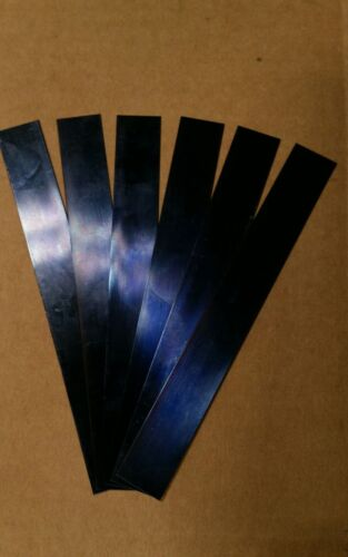 """Blue Tempered Spring Steel Shim .015/"""" x 1//2/"""" w 6 inch Long 0.015 01 five piece"""