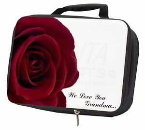 'we Love You Grandma' Sentiment Black Insulated School Lunch Box Bag, Gra-r2lbb