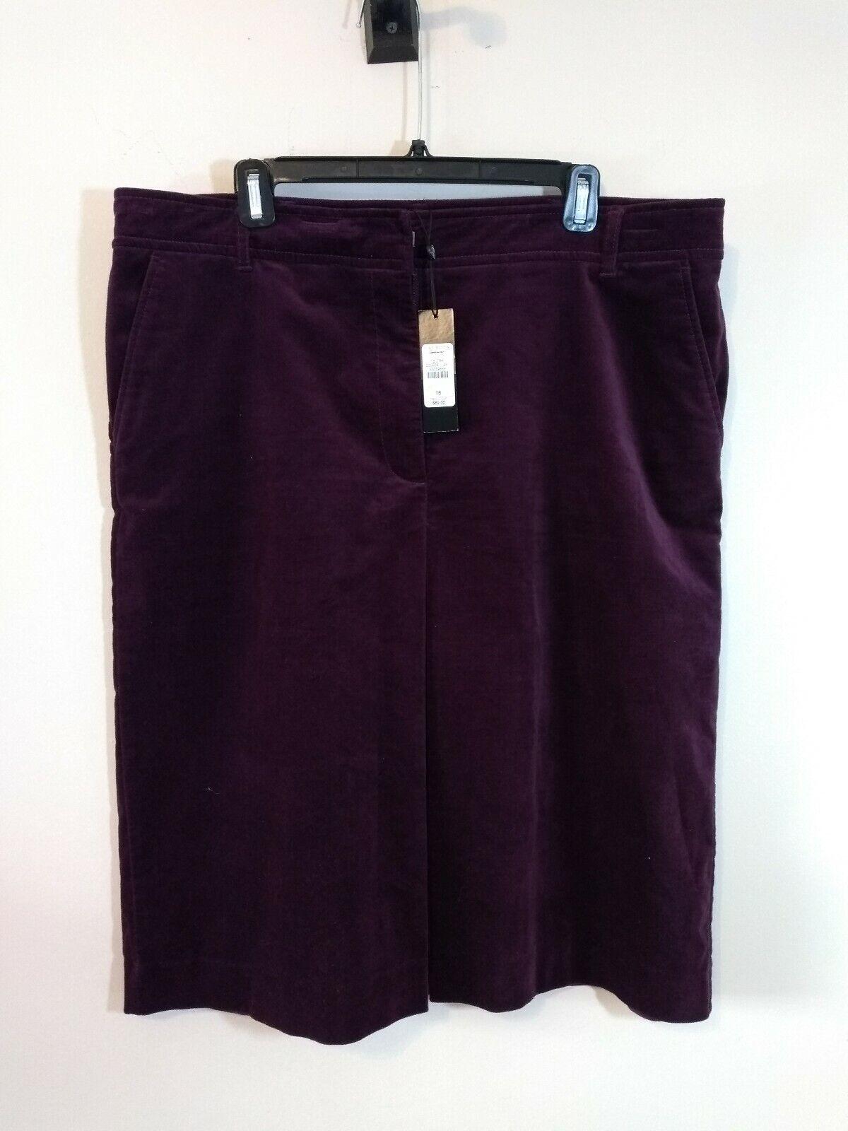 NWT  69 Talbots Purple Velour Skirt Size 16