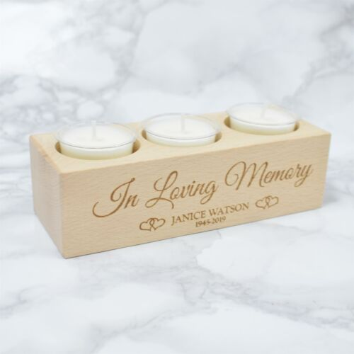 Personalised Loving Memory Tea Light Holder Rememberence Wooden Candle Holder