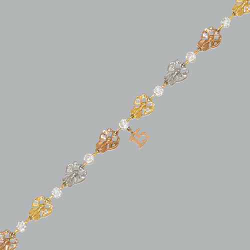 NEW 14K TRI-COLOR gold CZ 15 ANOS BRACELET BUTTERFLY QUINCEANERA   6  - 7