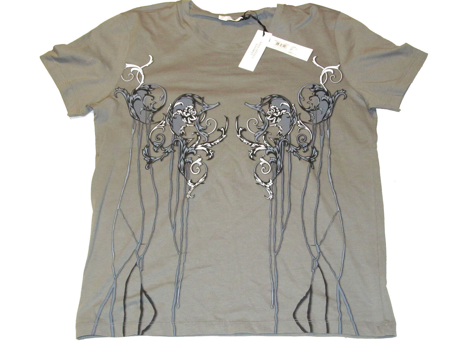 NWT Versace Collection Girocollo grey Pastello Fant T-Shirt Size XL V800471S