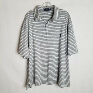 Polo-Ralph-Lauren-Mens-Grey-Striped-Short-Sleeve-Polo-Shirt-Sz-2XB-2XL-Big-M210