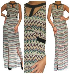 Ladies-Chiffon-Maxi-Dress-Evening-Summer-Party-Size-8-10-12-14-16-18