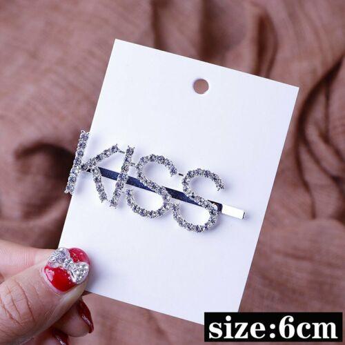 Women Crystal Rhinestone Letter Smile Hair Clip Barrette Stick Hairpin Hair Gift