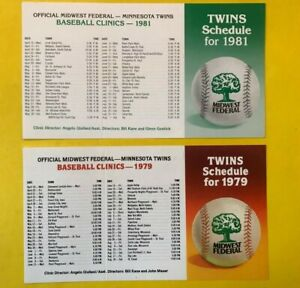 1979 1981 Minnesota TWINS UNFOLDED Vintage Baseball pocket schedule lot set card