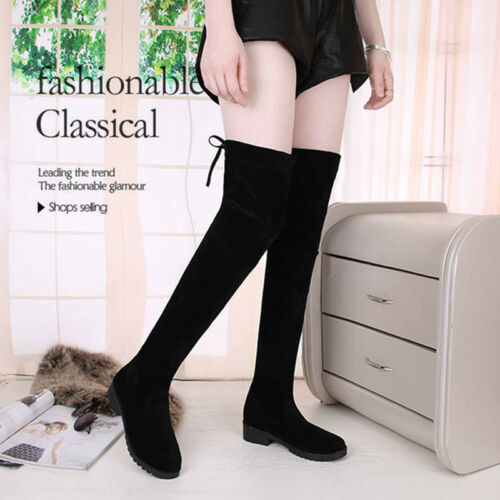 Womens Girl Over The Knee High Flat Ladies Long Faux Suede Thigh High Boots