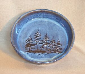 Details about potterybydave - Medium Shallow Serving Bowl - Pasta - Blue w/  Pine Tree design