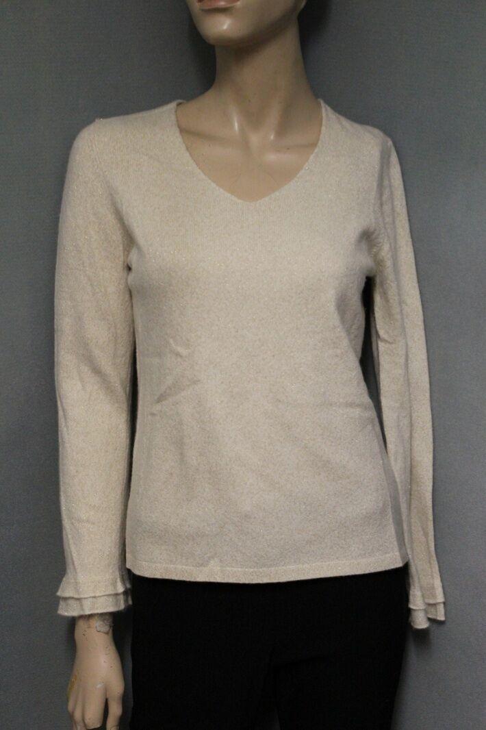 Ann Taylor 92% Cashmere gold Sparkle Sweater MP Medium Petite