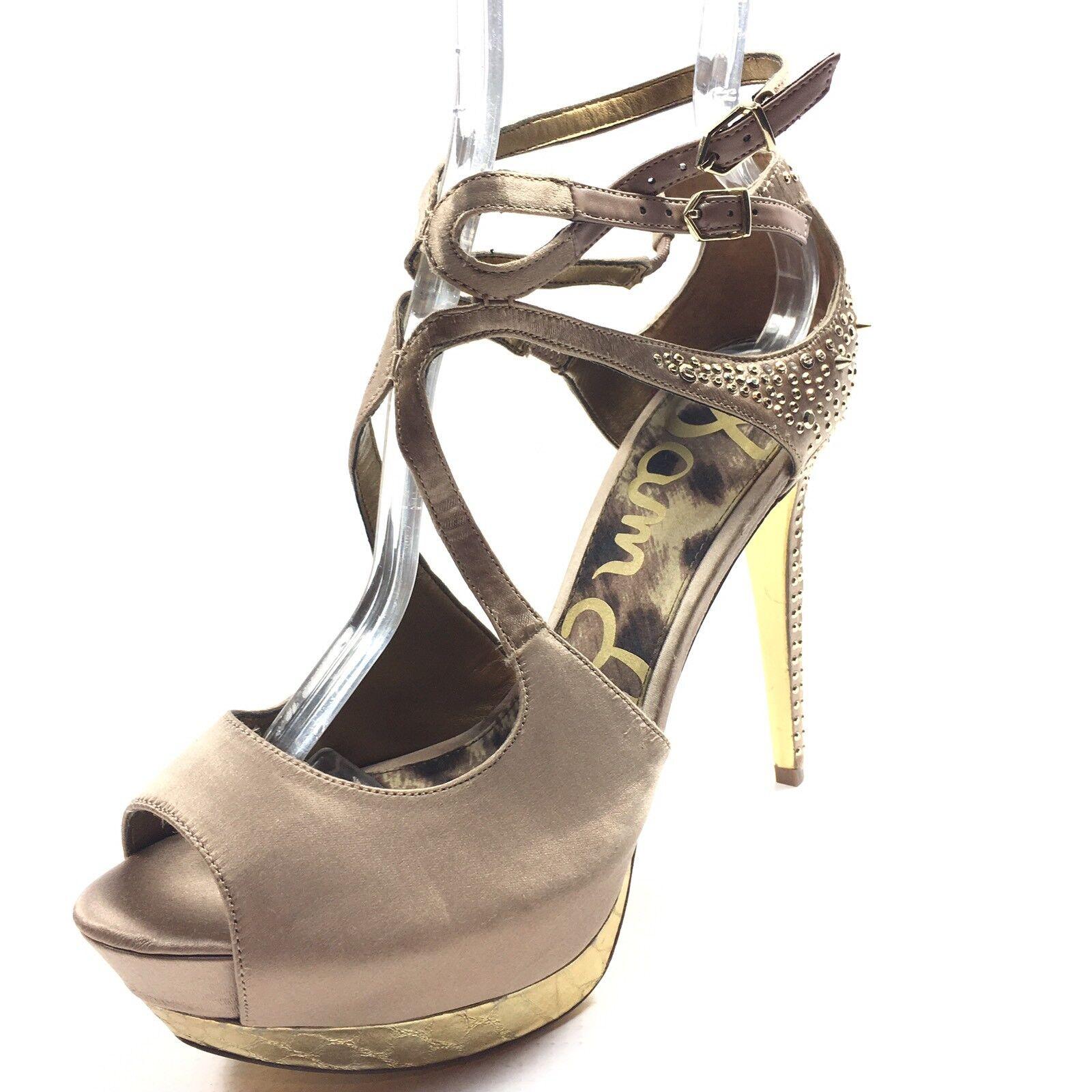 Sam Edelman Pryce Champagne Satin Platform Heel Sandals Women's Size 9.5 M*