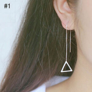 PAIR-OF-SILVER-PLATED-LONG-DROP-LINE-TRIANGLE-CHAIN-EARRINGS-UK-SELLER