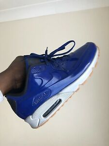 Nike-air-max-90-Hyperfuse-Blue-UK-10-Patent-Shiny-Gum-Sole-Rare