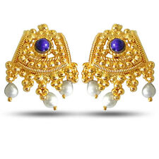 Temple Design Freshwater Pearl, Blue Lapiz & Gold Plated earrings SE51A