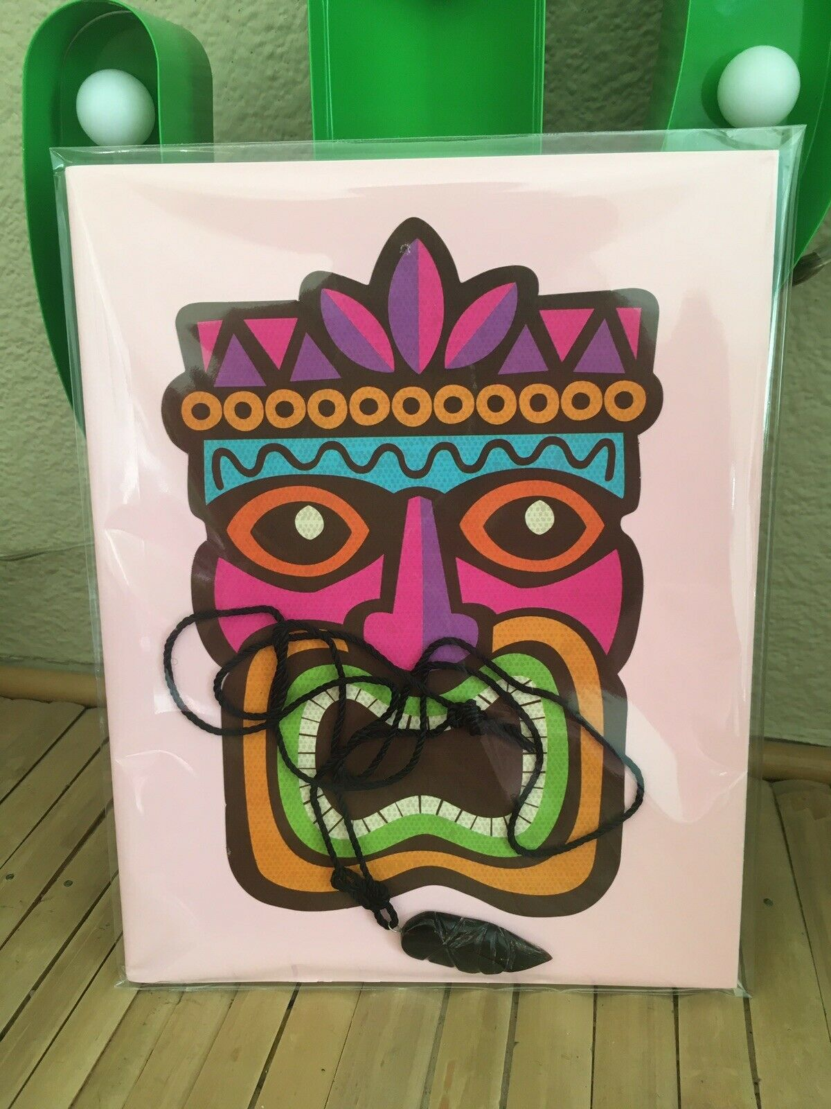 Pink Totem Tiki Mask Hawaiian God A5 Notebook+necklace Carved Pendant 2pc Gift