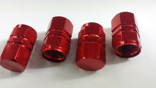 4 x tapones de polvo de válvula de rueda neumático de coche rojo hexagonal De Aluminio Bicicleta Moto Bmx