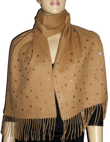 LUXE OH `DOR 100/% Kaschmir Cashmere Schal Camel Braun Kristalle Topaz Gold Luxus
