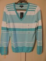 Choice NWT Tommy HIlfiger Womens Size S,M,L,XL,or XXL Aqua Blue Striped Sweater
