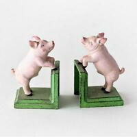 Pink Country Pig Cast Iron Bookends Collectable Heavy Animal Book Ends Retro