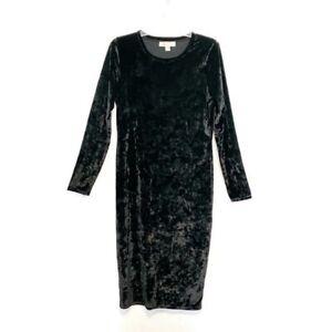 Michael-Kors-Size-Large-Velvet-Little-Black-Dress-Long-Sleeve-Round-Neck