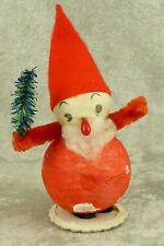 Vintage Spun Cotton Santa Elf Gnome w/ Tree Christmas Figurine Putz Japan