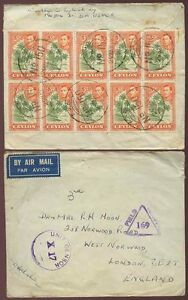CEYLON-1944-KG6th-BLOCK-of-10-FRANKING-UNIT-FIELD-CENSORS-AIRMAIL-to-GB