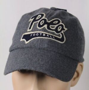 Ralph Lauren Polo Mens Wool Flannel Baseball Cap with Polo Football Logo Grey
