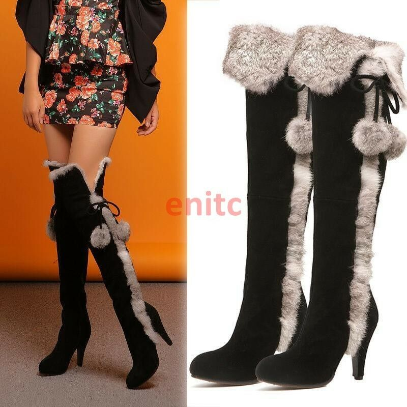 Sexy Donna High Leg Shoes Suede Rabbit Fur Snow Over Knee High Boots Heeled C-7