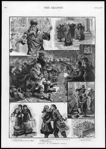 1886-Antique-Print-RUSSIA-Easter-Candles-Church-Priest-Salutation-Feast-220