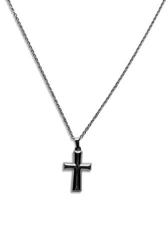 1182e Edelstahl Halskette 40-75cm mit Kreuz Anhänger 36 x 22mm in Silber