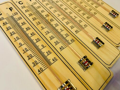 5x Thermometer 20cm Holz Zimmerthermometer Außenthermometer Holzthermometer