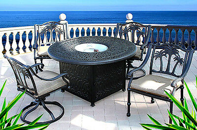 Outdoor Dining Set Round Table.Dining Table With Fire Pit In Middle 5 Piece Patio Cast Aluminum Furniture Set 35426206354 Ebay