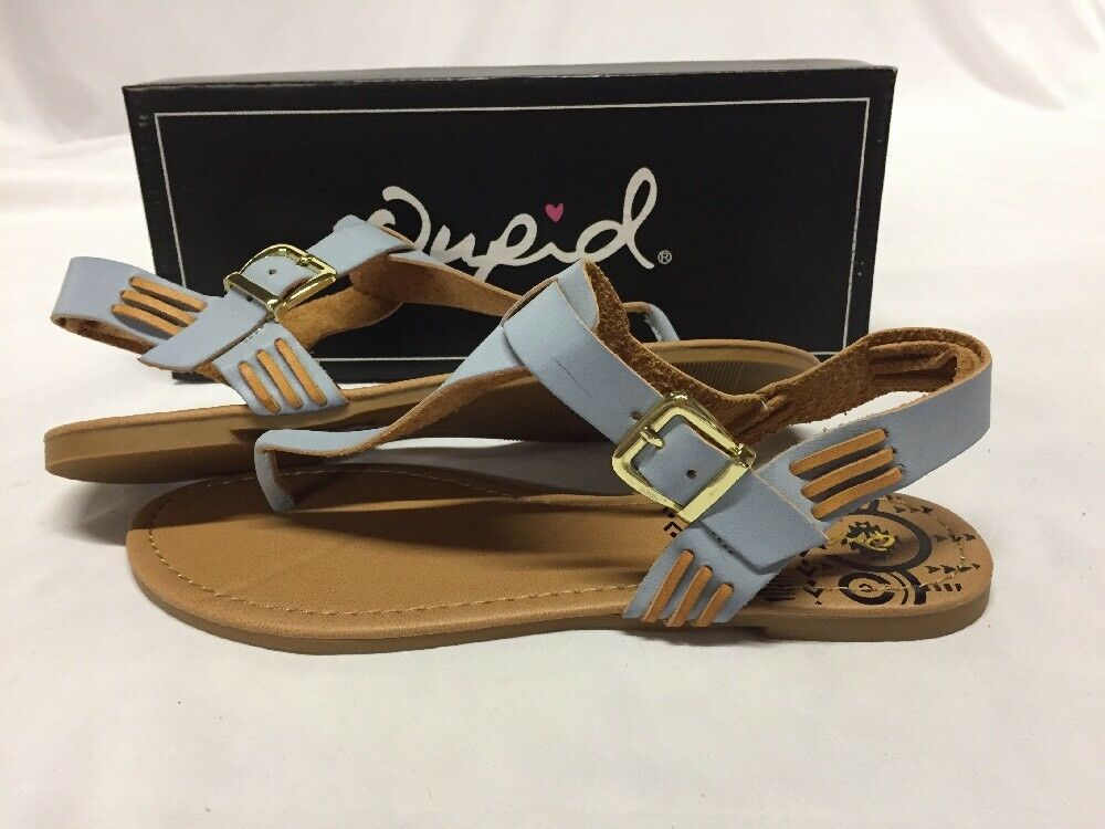 Qupid Archer-137 Women's Thong Sandals, Ash bluee, Size 8 M