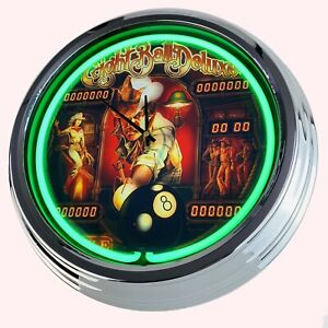 """N-0596 Wall Clock """" Pinball Eight Ball Deluxe 1984 Neon Kitchen Watch Game Room"""