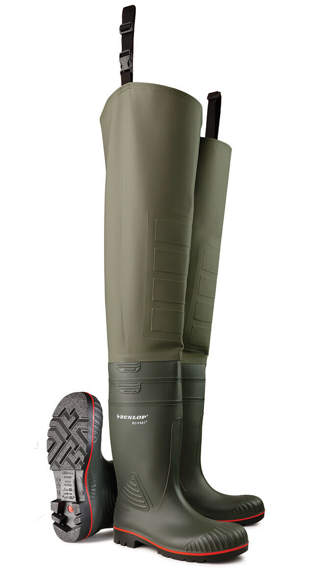 Dunlop Acifort Thigh-high  Safety  Waders Steel toe and Midsole
