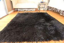 """48"""" x 60"""" Black Mongolian Faux Fur Area Rug Fur Rectangle Sheepskin Plush"""