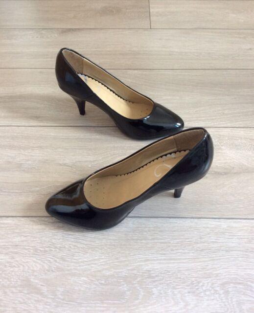 wide fit black patent court shoes