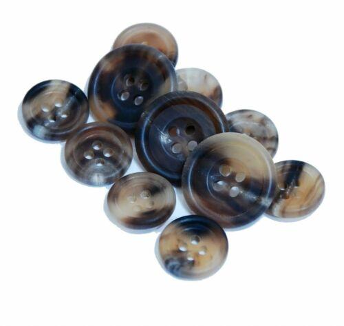 Savile Row Natural Horn Blazer Button Set Matte Brown Stripe Sport Coat Buttons