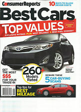 CONSUMER REPORT,  BEST CARS * TOP VALUES.  JUNE, 2014   ( 260 MODELS RATED )
