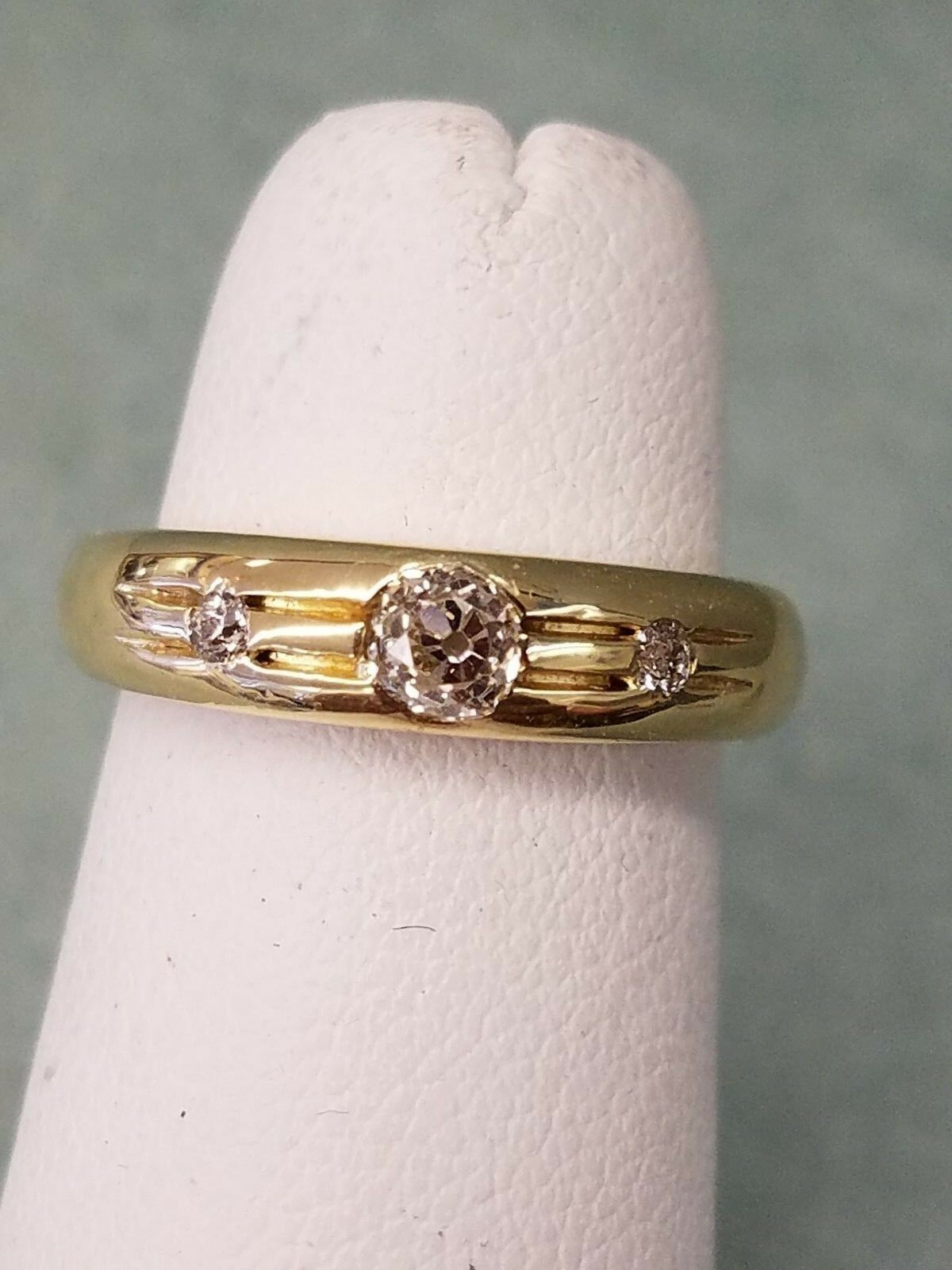 GORGEOUS SOLID 18K YELLOW gold .63 Ct. EUROPEAN OLD CUT GENUINE DIAMONDS RING